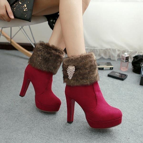 botas tacón de aguja zapatos de tacón mujer 11 rojo caldi como piel 8247