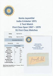 0695dd84b369 Image is loading KENIA-JAYANTILAL-INDIA -TEST-CRICKETER-1971-ORIGINAL-AUTOGRAPH-