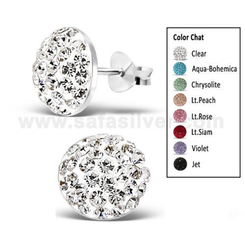 10 Mm 925 Sterling Argent Scintillant demi-boule cristal earring