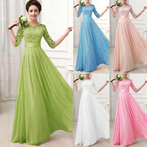 1c1636406be5 Women s Long Lace Dress Evening Formal Party Prom Wedding Bridesmaid ...
