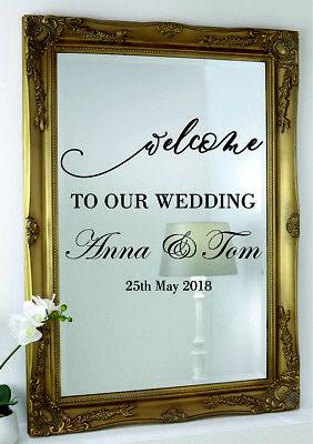 Luminosa Matrimonio Specchio Adesivi Parete Personalizzata Custom Event Decor Vinyl Decal-
