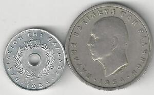 2-OLDER-COINS-from-GREECE-5-LEPTA-amp-5-DRACHMA-BOTH-DATING-1954
