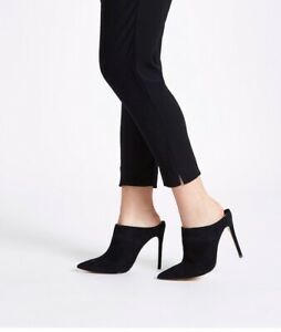 NEW Black Leather Suede Mules Size 6 39