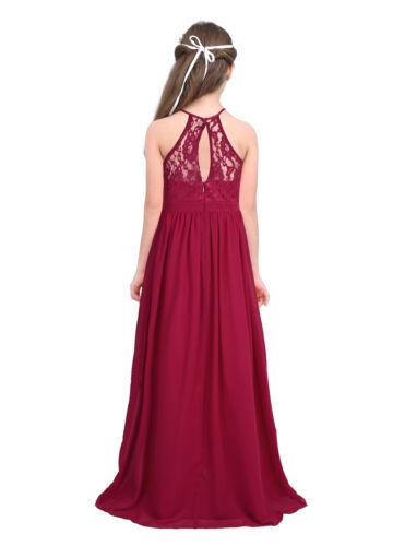 Kids Girls Princess Lace Chiffon Dress Party Wedding Bridesmaid Birthday Gown