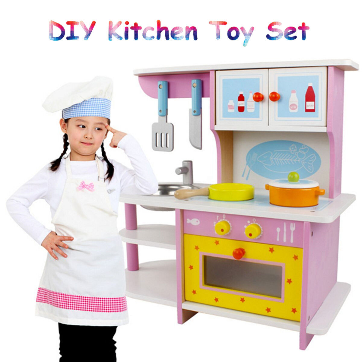 Pink Girl Kid Wooden Kitchen Role Play Play Play Set Pretend Toy DollHouse Furniture Decor 262a68