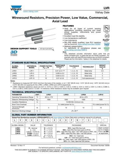 Dale Wirewound Resistor 0.025 Ohms 5W 3/% LVR 25mOhms