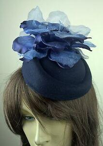 navy blue felt mini pillbox hat satin flower fascinator wedding race ... 7beb48163105