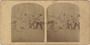 Scena Di Genere Giochi Bambini Stereo Vintage Albumina Ca 1860