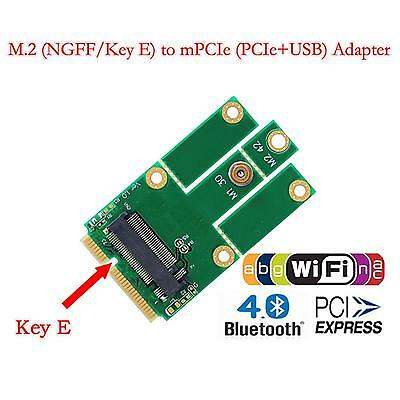 M.2 NGFF Key E to Mini PCI-E w/ USB2.0 Adapter WIFI Bluetooth 4.0