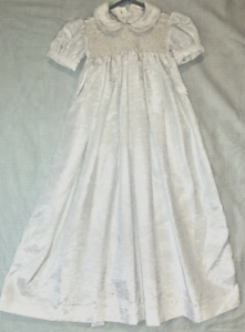 Christening-or-Baptism-dress-Satin-with-smocked-bodice