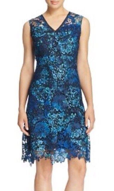 NWT T Tahari Elora Scalloped Lace Dress bluee Sz 8