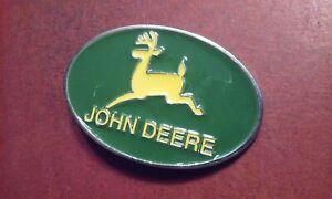 """JOHN DEERE Green & Yellow Oval Promo Advertising BELT BUCKLE 1.75"""" Belt Width"""