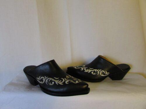 Ricamato Pelle 36 zoccoli Sandali Nera Classics Marlboro Vintage nwp4PYq1A