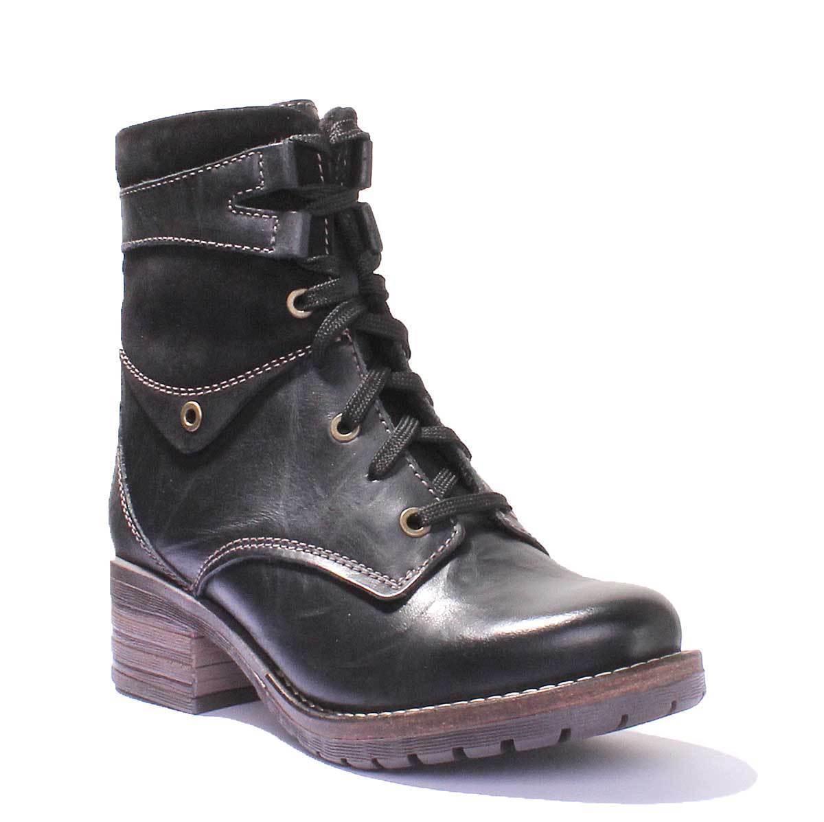 Dromedaris Kara Womens Black Waxy Creased Leather Boots UK Size 3 - 8