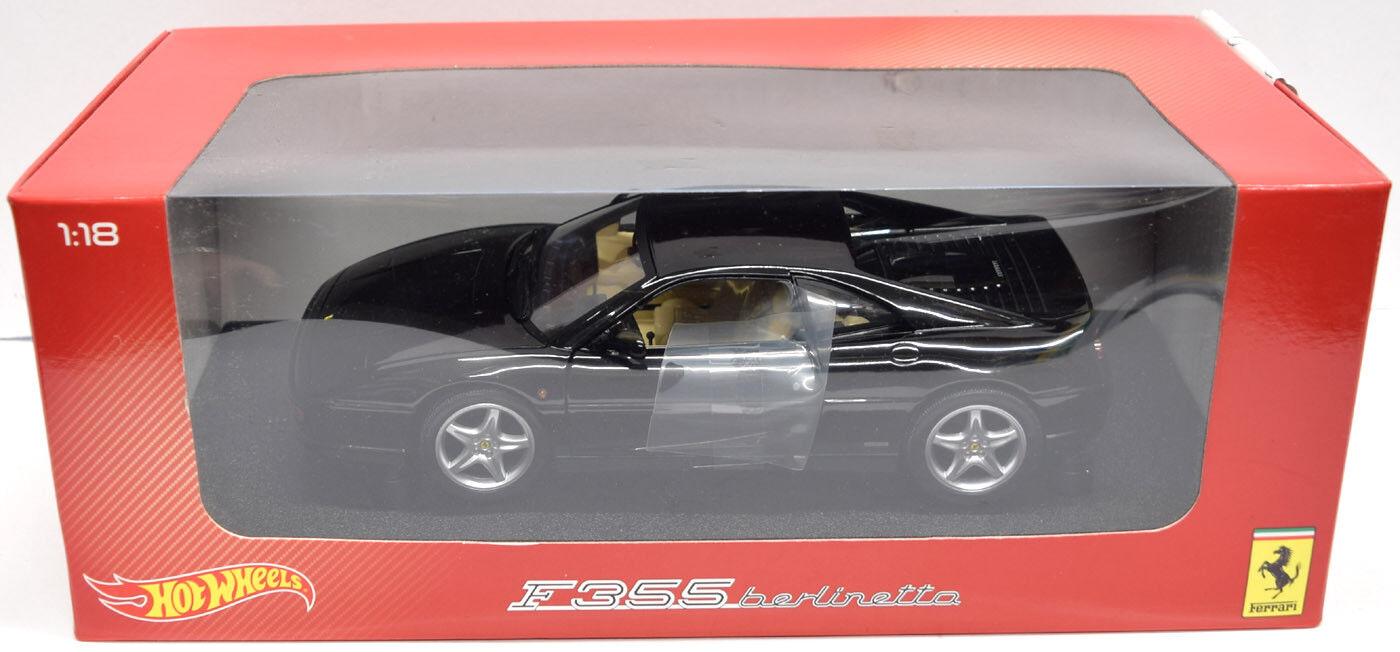 Hot Wheels Ferrari F355 Berlinetta, negro, modelo diecast escala 1 18 (BLY58)