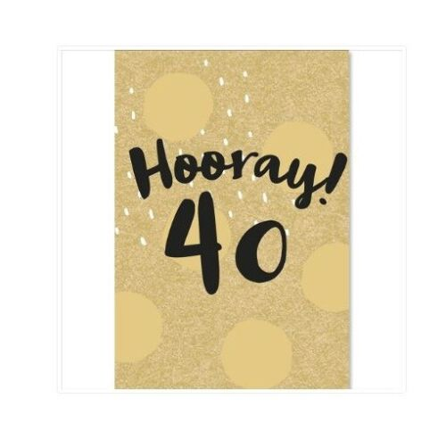 40th Birthday GIFT WRAP WRAPPING SHEET Paper Gold Foiled Forty 40 Unisex Party
