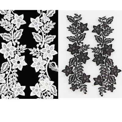 1 Paar Schwarz Ekrü Weiß Blume Spitzen Stoff Stickapplikationen