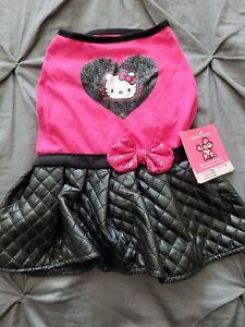 HELLO KITTIE 50'S MEDIUM size DRESS PINK BLACK SPARKLES dog clothes