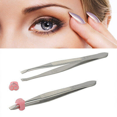 2 Professional Eyebrow tweezers Hair Beauty Slanted Stainless Steel Tweezer Tool