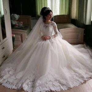 0ef8b1e71f05 Modest White Wedding Dress Sheer Long Sleeves Bridal Dress with Lace ...