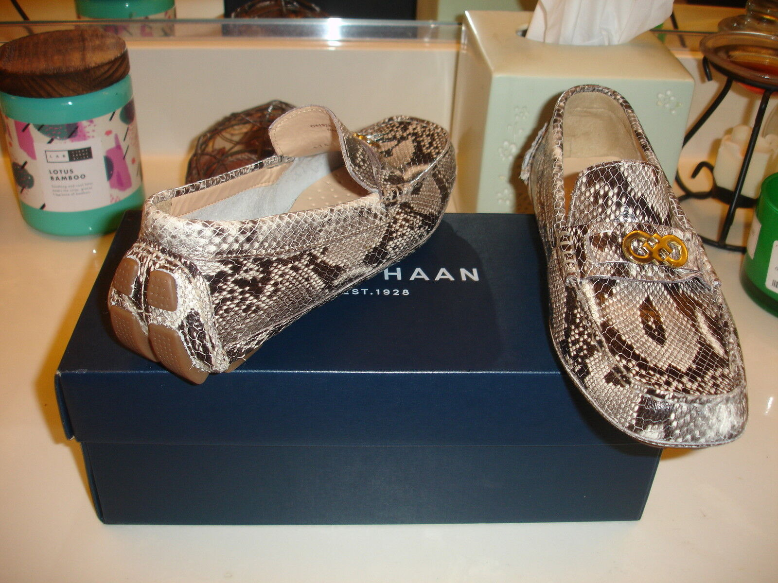 Cole Haan Shelby Logo reptile 6.5 print Loafer Mocassin shoe Cute Nice  178 6.5 reptile 0eeec8