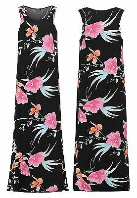 Hell Womens Sleeveless Stretch Maxi Dress Ladies Summer Flower Printed Party Top