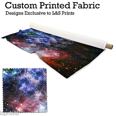 Textile imprimé style galaxie lycra : satin jersey extensible