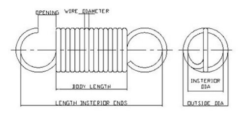 """2 ea .160/"""" OD x .020/"""" Wire Dia x 1.092/"""" Long Extension Springs"""