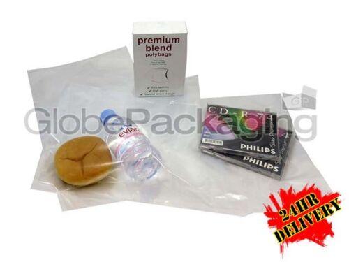 "500 x CLEAR 18x24/"" POLYTHENE PLASTIC FOOD GRADE BAGS 18/"" x 24/"" 100 GAUGE *24HR*"