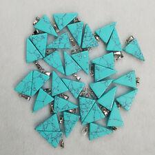 Hot sale blue turquoise triangle shape charms pendants 50pcs/lot Wholesale