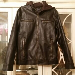 a6e55cb1c Details about Black Rivet Men's Brown Distressed Faux Leather Small Hooded  Lined Coat Jacket