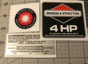 Briggs & Stratton 4 hp 1986-91 Black Shroud Labels Decals set of 4