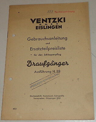 Farming & Agriculture Operating Instructions/parts Catalog Ventzki Schlepperpflug Daredevil H 28 Motors