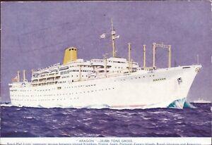 England-London-Royal-Mail-Line-Aragon-Ship-Steamer-Postcard-Ak-W-5641