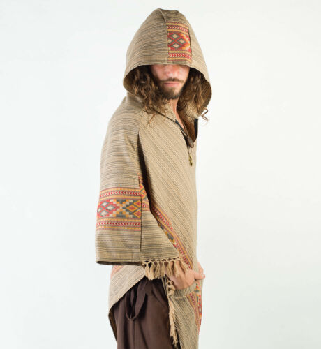 Earthy Tribal Pattern Handmade Poncho with Large Hood Brown YAK Cashmere Wool