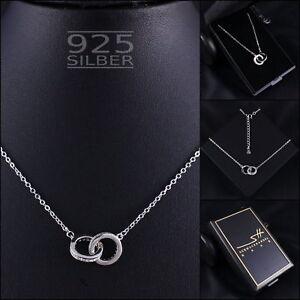 Ringe-Kette-Halskette-925-Sterling-Silber-Damen-SWAROVSKI-ELEMENTS-inkl-ETUI