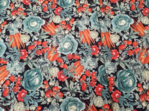 New 100/% Cotton Fabric Timeless Treasures Patt # Ruth-C 5481 Vegetables on Black