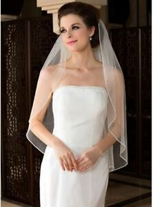 White-Ivory-1-Layer-Elbow-Length-Rhinestone-Edge-Wedding-Bridal-Veil-With-Comb