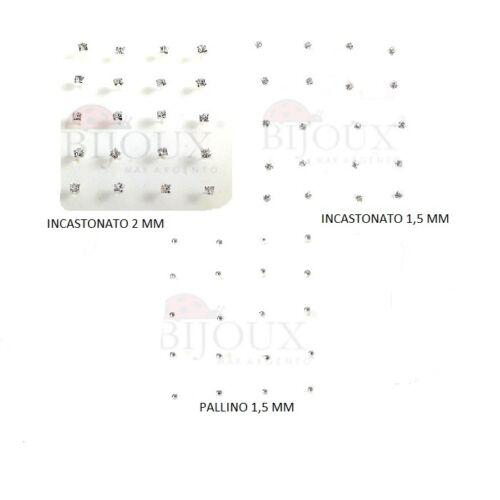 60 Pezzi Orecchino Piercing Nasino in Argento 925  Griff 1,5-2 mm e Pallino 1,5