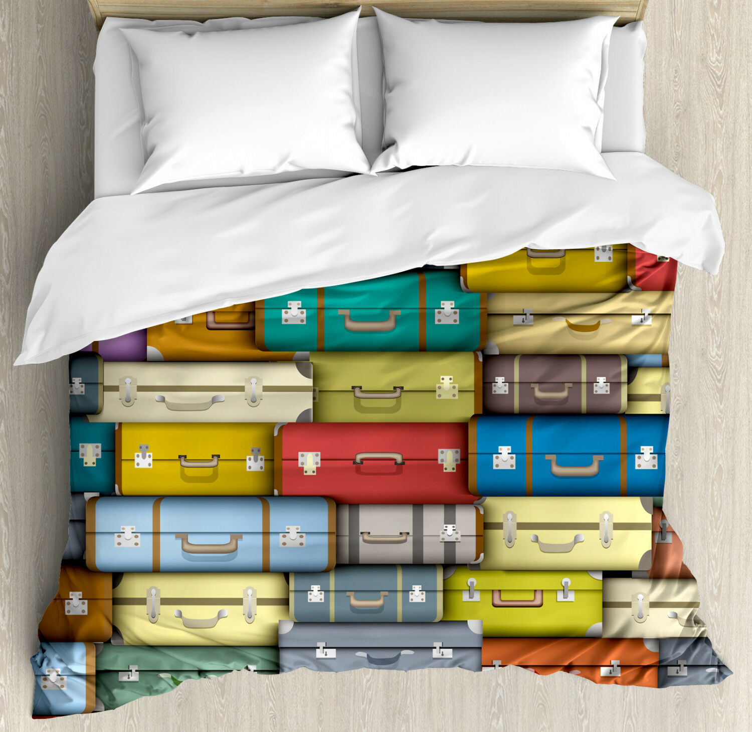 Vintage Duvet Cover Set with Pillow Shams colord Travel Suitcase Print