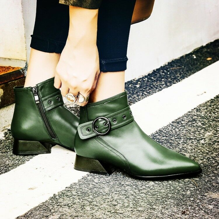 donna Retro Punk Buckle Strap Pointy Toe Block Low Heels Leather Ankle stivali