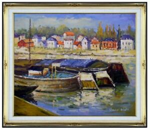 Framed-Hand-Painted-Oil-Painting-Repro-Claude-Monet-Seine-at-Asnieres-20x24in