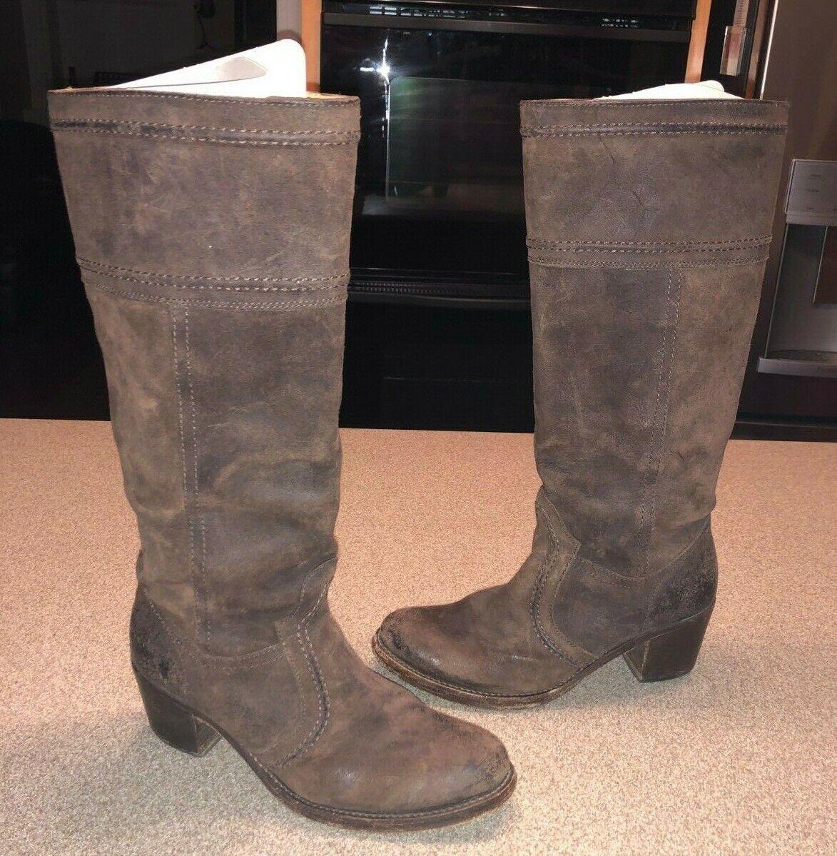 Frye Jane puntada para Mujer de Cuero Marrón Engrasado Gamuza la rodilla botas altas 77222