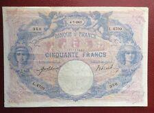 France - RARE et Très Joli Billet de 50 Francs Rose et bleu du 4-7-1913