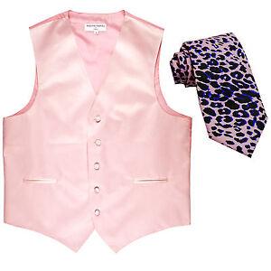 New Men's Formal Vest Tuxedo Waistcoat light pink_pink leopard tie prom wedding