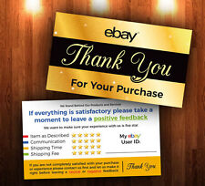 ebay Seller THANK YOU Cards 100 Pack - 5 Star Feedback Rating *Free Shipping*