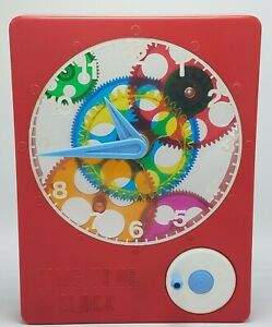 RARE-Vintage-Time-Tone-Clock-Toy-Large-Plastic-Child-Guidance-Toy-Works