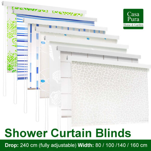 Luxury Roll Up Shower Curtain Bath Roller Blind * Bathroom Rolling Screen Cover