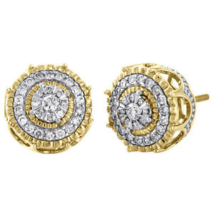 10K-Yellow-Gold-Round-Diamond-Cluster-Halo-Circle-Flower-Stud-Earrings-0-50-CT