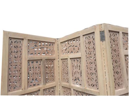 Sculpté à la main 4 panneau indien bois écran//diviseur cercle jali design